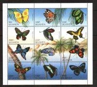 Уганда, 1996. [uga9612m] Бабочка (м\л+блок)